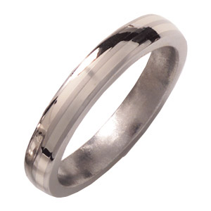 4mm Titanium Band with 14kt White Gold Inlays