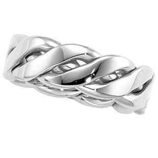 Platinum 6.5mm Braided Wedding Band
