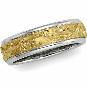 18k Yellow Gold and Platinum 6mm Hand Engraved Floral Wedding Band