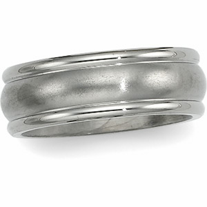 7mm Titanium Band with Grooved Edges