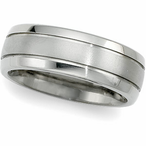 8mm Titanium Band with Grooves
