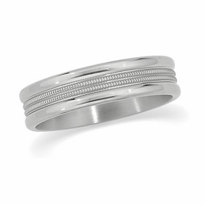 6mm Titanium Band with Milgrain Center