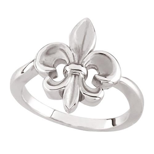 14kt White Gold Fleur-de-lis Ring