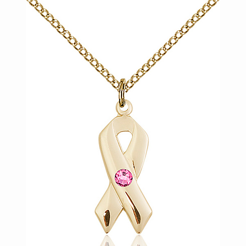 Gold Filled 7/8in Cancer Ribbon Pendant with Rose Bead & 18in Chain