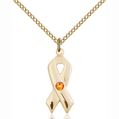 Gold Filled 7/8in Cancer Ribbon Pendant with Topaz Bead & 18in Chain