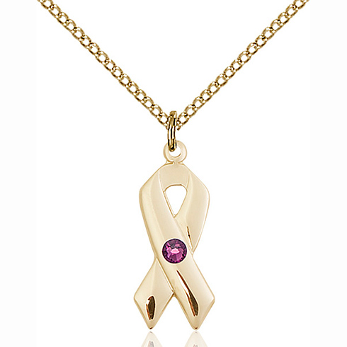 Gold Filled 7/8in Cancer Awareness Pendant with 3mm Amethyst Bead & 18in Chain