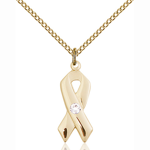 Gold Filled 7/8in Cancer Ribbon Pendant Crystal Bead & 18in Chain