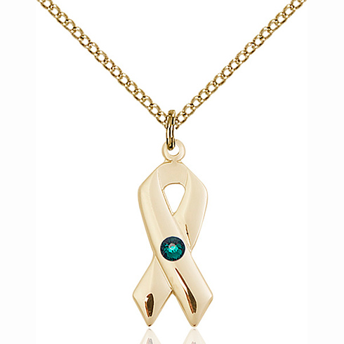 Gold Filled 7/8in Cancer Ribbon Pendant with Emerald Bead & 18in Chain