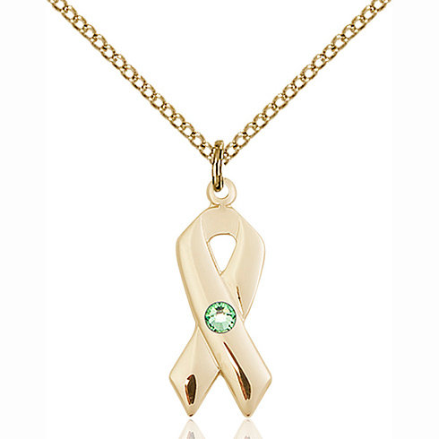 Gold Filled 7/8in Cancer Awareness Pendant with 3mm Peridot Bead & 18in Chain
