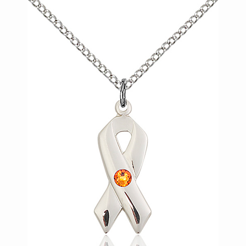 Sterling Silver 7/8in Cancer Ribbon Pendant Topaz Bead & 18in Chain