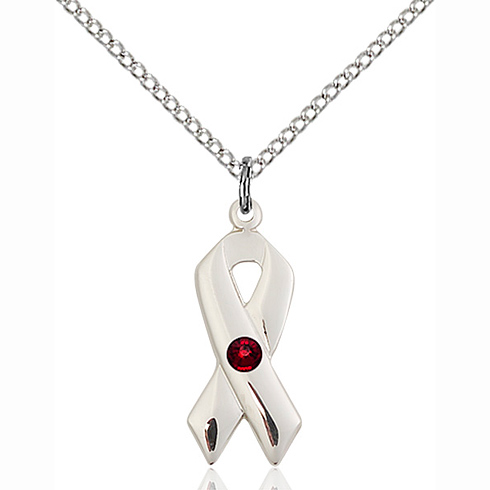 Sterling Silver 7/8in Cancer Ribbon Pendant Garnet Bead & 18in Chain
