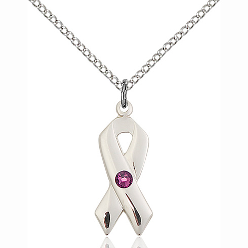 Sterling Silver 7/8in Cancer Ribbon Pendant Amethyst Bead & 18in Chain