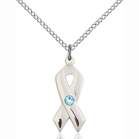 Sterling Silver 7/8in Cancer Awareness Pendant with 3mm Aqua Bead & 18in Chain