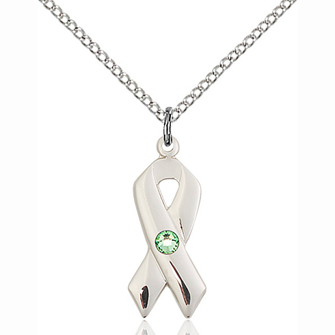 Sterling Silver 7/8in Cancer Ribbon Pendant Peridot Bead & 18in Chain