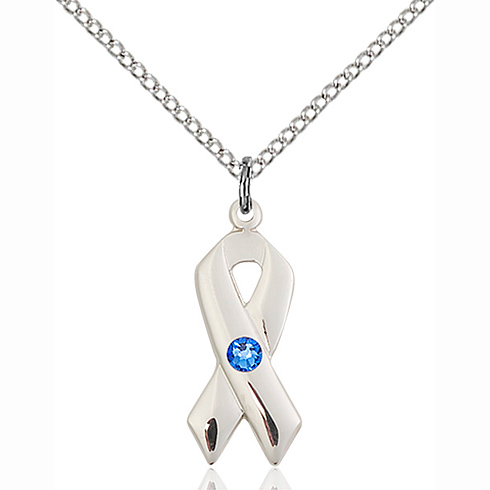Sterling Silver 7/8in Cancer Ribbon Pendant Sapphire Bead & 18in Chain