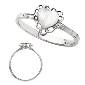 14kt White Gold Heart Signet Promise Ring with Cut-out Border