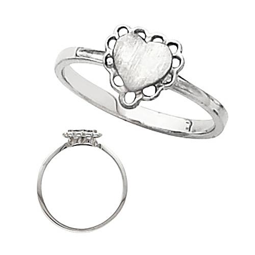 14kt White Gold Heart Signet Promise Ring