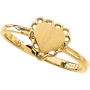 14kt Yellow Gold Heart Signet Promise Ring