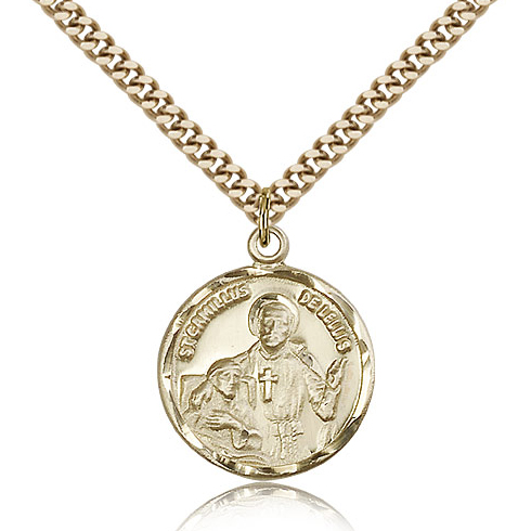 Gold Filled 7/8in St Camillus Medal & 24in Chain