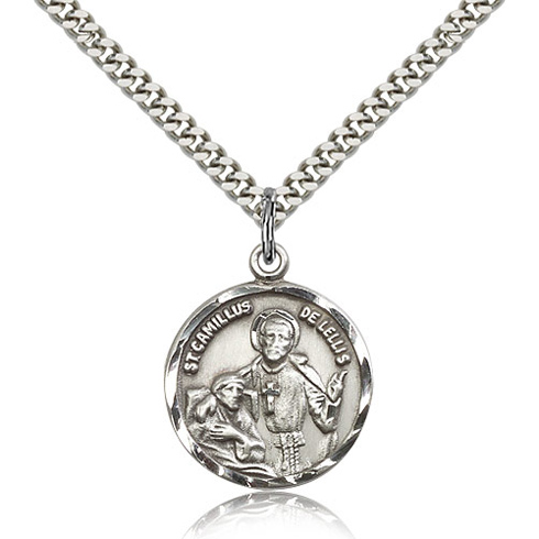 Sterling Silver 7/8in Round St Camillus Medal & 24in Chain