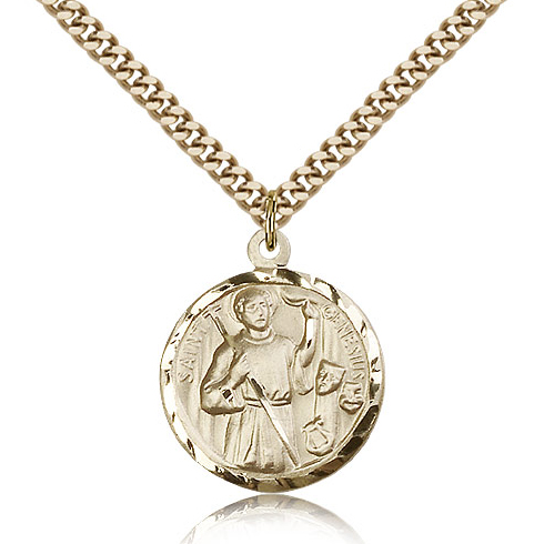 Gold Filled 7/8in St St Genesius Medal & 24in Chain