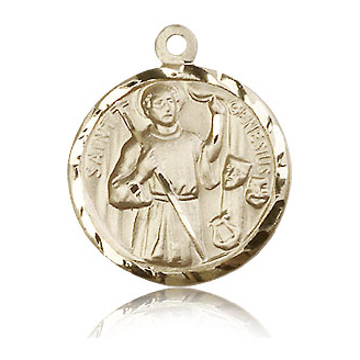 14kt Yellow Gold 7/8in St Genesius Medal