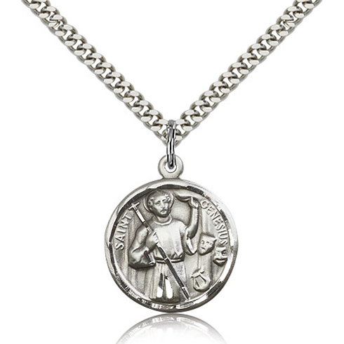 Sterling Silver 7/8in St Genesius Medal & 24in Chain