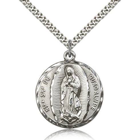 Sterling Silver 1 1/4in Our Lady of Guadalupe Medal & 24in Chain