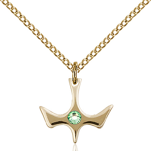 Gold Filled 1/2in Holy Spirit Pendant with 3mm Peridot Bead & 18in Chain