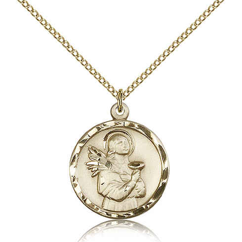 Gold Filled 7/8in St Lucy Pendant & 18in Chain