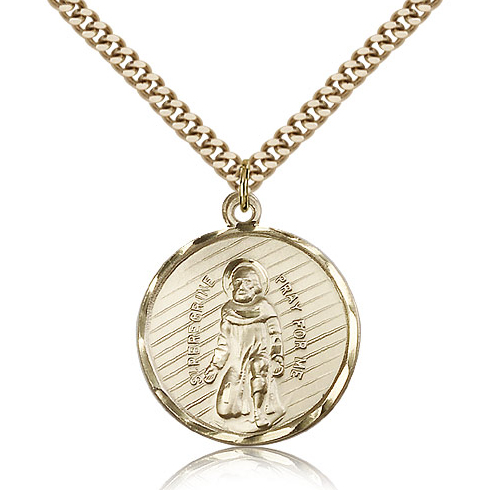 Gold Filled 1in St Peregrine Medal & 24in Chain