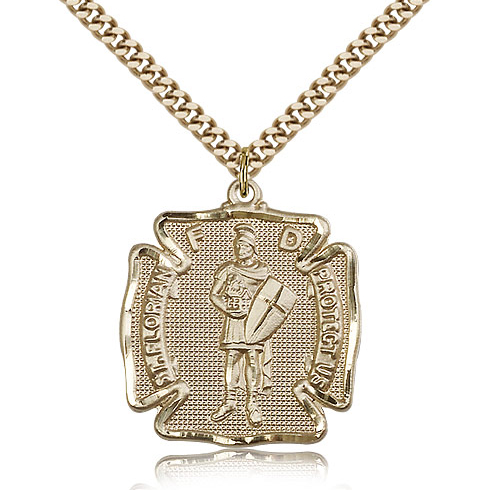 Gold Filled 1 1/8in St Florian Medal & 24in Chain