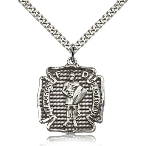 Sterling Silver 1 1/8in St Florian Medal & 24in Chain
