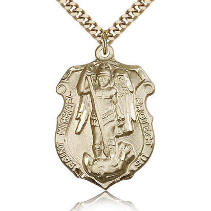 Gold Filled 1 1/4in St Michael Shield Medal & 24in Chain