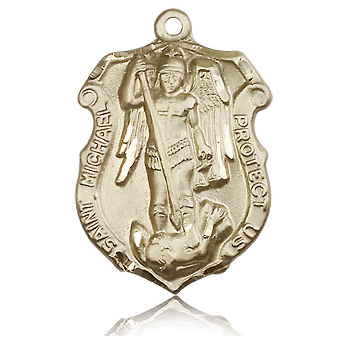 14kt Yellow Gold 1 1/4in St Michael Shield Medal