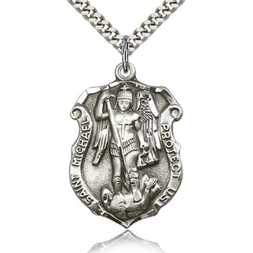 Sterling Silver 1 1/4in St Michael Shield & 24in Chain