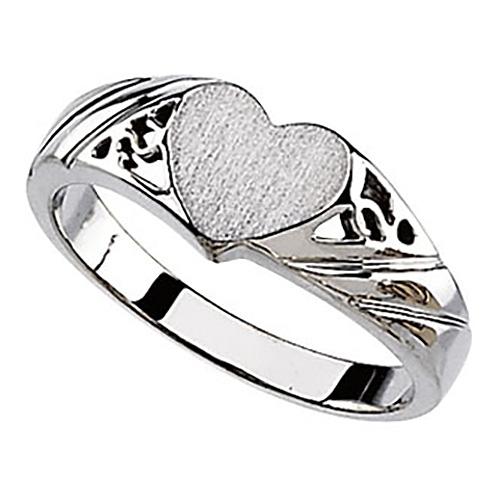 14k White Gold Heart Signet Promise Ring