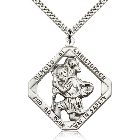 Sterling Silver Square 1 3/4in St Christopher Medal & 24in Chain