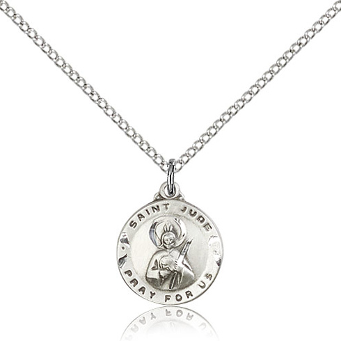 Sterling Silver 5/8in Round St Jude Charm & 18in Chain