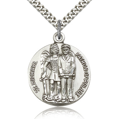 Sterling Silver 1in St Michael Patron of Police Medal & 24in Chain