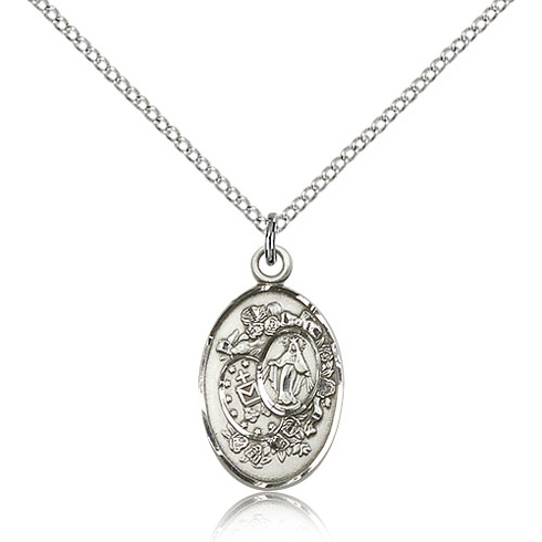 Sterling Silver 7/8in Miraculous Medal & 18in Chain