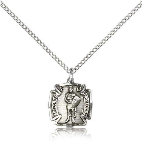 Sterling Silver 1/2in St Florian Charm & 18in Chain
