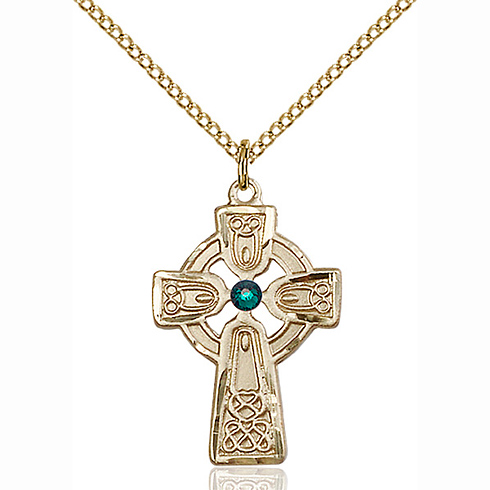 Gold Filled 1in Celtic Cross Pendant with 3mm Emerald Bead & 18in Chain