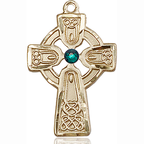 14kt Yellow Gold 1in Celtic Cross with 3mm Emerald Bead & 18in Chain