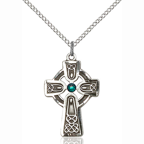 Sterling Silver 1in Celtic Cross Pendant with 3mm Emerald Bead & 18in Chain