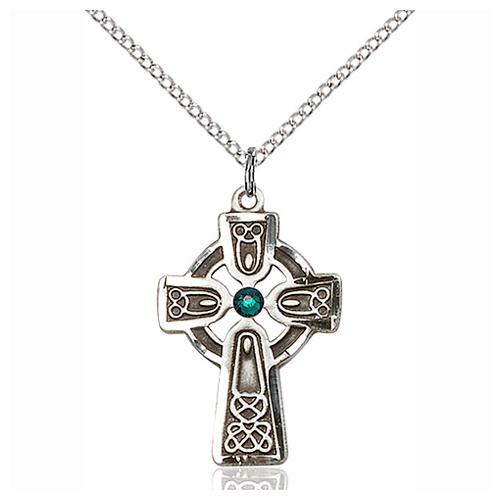 Sterling Silver 1in Celtic Cross Pendant Emerald Bead & 18in Chain