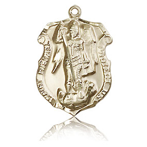 14kt Yellow Gold 3/4in St Michael Shield Medal