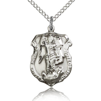 Sterling Silver 3/4in St Michael Shield Medal & 18in Chain