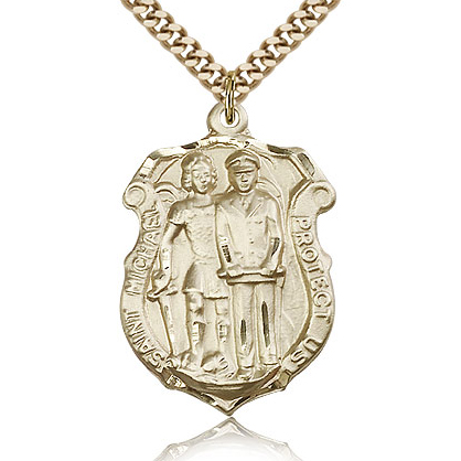 Gold Filled 1 1/4in St Michael Police Medal & 24in Chain