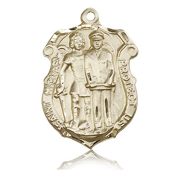 14kt Yellow Gold 1 1/4in St Michael Police Medal